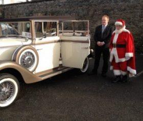 Santa Claus with wedding car Whitewater Shopping Centre Newbridge Kildare November 2014